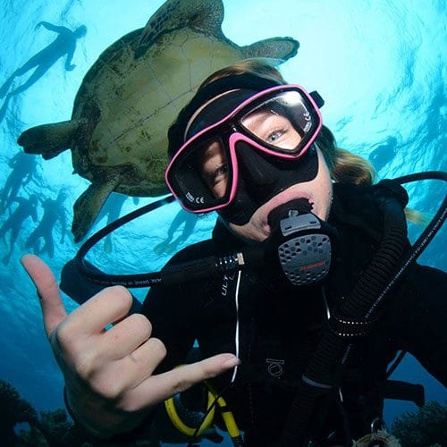 Scuba Diver with Giant Mauri Wrasse Fish
