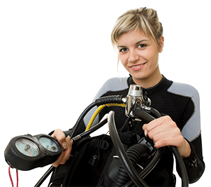 Scuba Diver Girl with Dive Gear